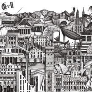 Illustrator Anna Gibb draws Isolation Escapes architecture montage